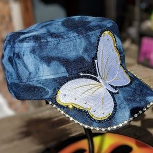 New 1 of a kind blue denim butterfly bling cap